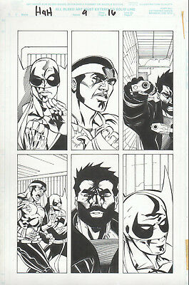 HEROES for HIRE 4 pg 16 original art DEFENDERS PUNISHER Luke CAGE Iron FIST
