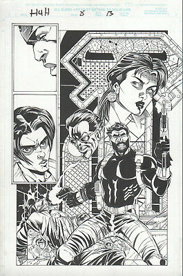 HEROES for HIRE 4 pg 13 original art DEFENDERS PUNISHER Luke CAGE Marvel comics