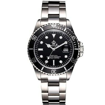 U K Stock! Gents Black/S/Steel Submariner Style Watch, Best Of The Rest Quality