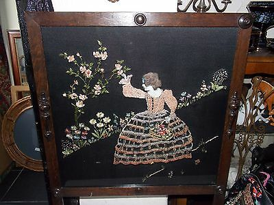 Victorian oak fire screen with embroidery lady on silk behind glass fire screen