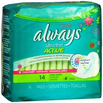 always Fresh, Ultra Thin Active, Size 2 Long Super, Flexi-Wings, Scented 14 pads