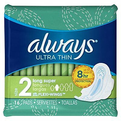 always Ultra Thin, Size 2, Long Super with Flexi-Wings, 16 pads