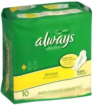 always Ultra Thin Regular, Size 1, with Flexi-Wings, 10 pads Each (Pack of 2)