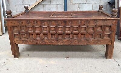 Large Grand Rajasthan Indian Cooks Chest Pantry Sideboard Day Bed Coffee Table