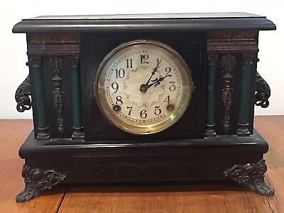 Antique Sessions Mantle Clock with Green Pillars and Floral Face