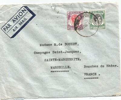 Malaya 20C+40C Lettre Cover Air Mail Singapore 1948 To Marseille