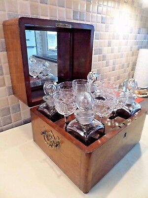 Victorian Walnut Travel Tantalus Box With 4 Decanters + 6 Glasses - Lock & Key