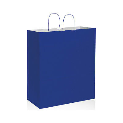 200 BUSTE IN CARTA COLORE BLU cm 45x20x48 shoppers buste negozi wedding bags