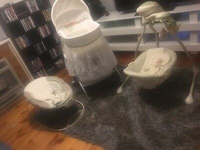 Selling Together Baby Bassinet, Swinger & electric Bouncer