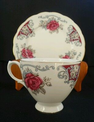 Vintage Queen Anne Maroon Red Rose Porcelain Teacup and Side plate England