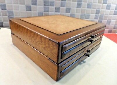 EARLY 20thC SOLID OAK COLLECTORS/ SPECIMEN 4 DRAWER STACKING CHEST BOX- 2 PIECES
