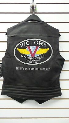 Victory Motorcycles Women's Leather Classic Logo Vest - Free Shipping! Rare