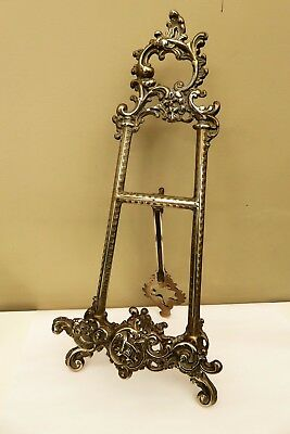"""VINTAGE ROCOCO SOLID BRASS PICTURE EASEL or BOOK DISPLAY STAND 13"""" 33cm tall"""