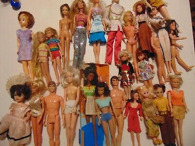 Lot Of 26 Mixed Vintage Dolls Barbies & More