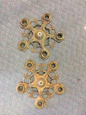 Pair Of Antique Cast Brass 5 Light Art Deco Ceiling Hanging Fixture Parts/Repair