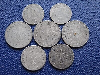 1, 5 and 10 Reichspfennig 1940-44. Nazi German original coins. WWII. H2187