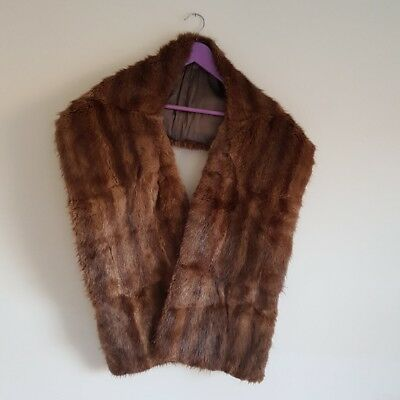 vintage real fur wrap stole pin up 40s