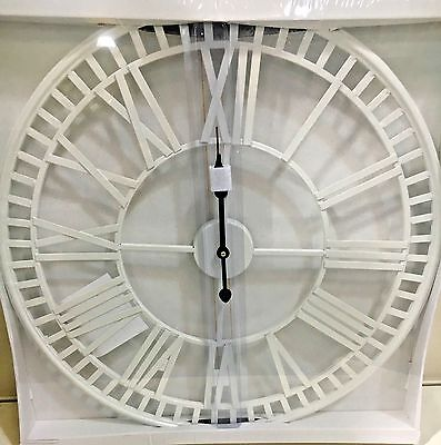 Large Skeleton Cut Out White Iron Roman Numeral Wall Clock NEW Kitchen 60cm