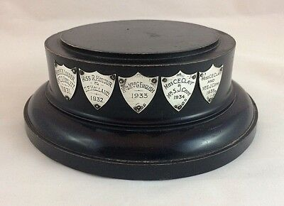 Large Vintage Ebonised Trophy Stand with Sterling Silver Shields - Circa 1931
