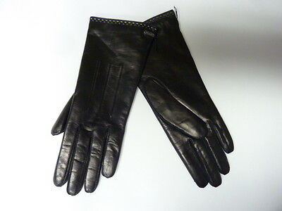 $98 COACH Women's Cashmere Lined Leather Basic 7.5 black winter gloves 83875 M