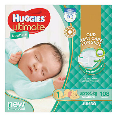 NEW Huggies Ultimate Newborn Nappies - 108 Pack