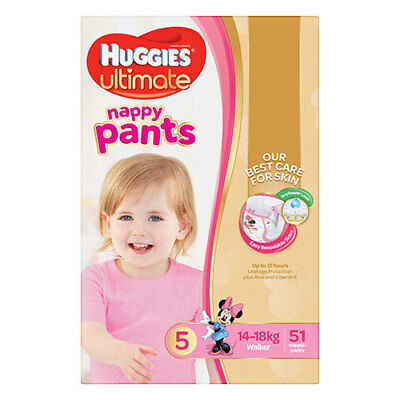 NEW Huggies Ultimate Walkers Nappy Pants for Girls - 51 Pack