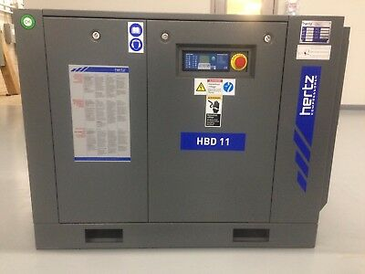 15 HP Hertz HBD11 Rotary screw air compressor with dryer and 120 gallon tank
