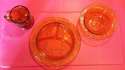Vintage Amber Glass Childs Divided Plate, Bowl, and Cup Set Margery Daw