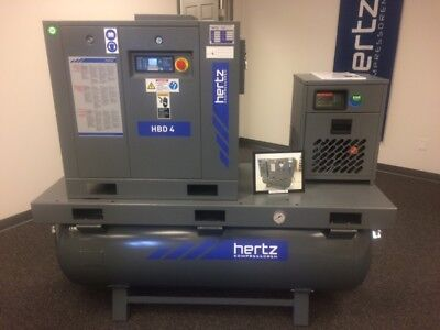 5 HP Hertz HBD4 Rotary screw air compressor with dryer and 120 gallon tank
