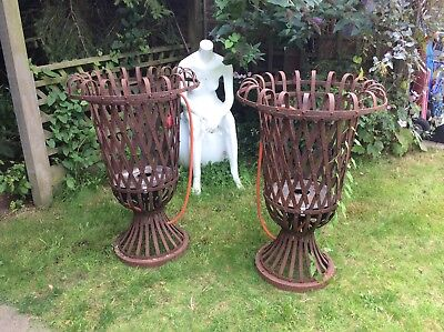 Vintage 2 Large Wrought Iron Plant Pot Holder Stand Urns. Torchere Reclaimed