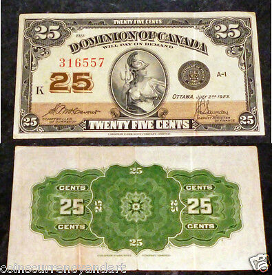 QUALITY . 1923 Dominion of Canada 25 Cents . FRACTIONAL CURRENCY , Shin plaster