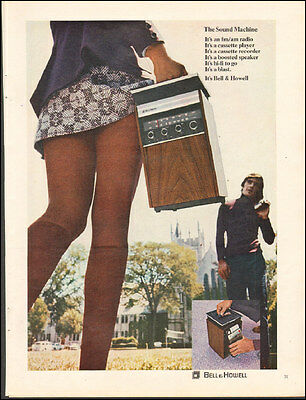 1971 ad for BELL & HOWELL SOUND MACHINE Sexy Mini-Skirt AD Cassettes (091116)