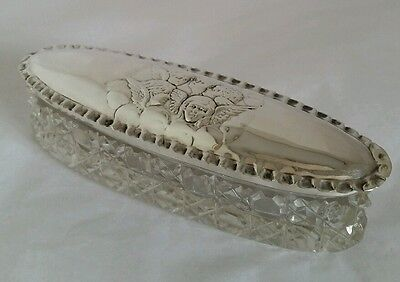 Edwardian cut glass & sterling silver vanity jar. Chester 1905.By J & R Griffin
