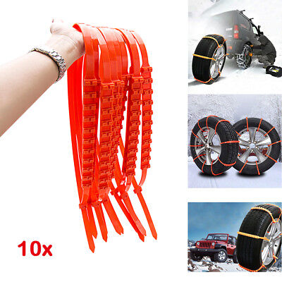 10 PCS Ice Snow Tire Chain for Car Truck SUV Anti-Skid Emergency Winter Driving
