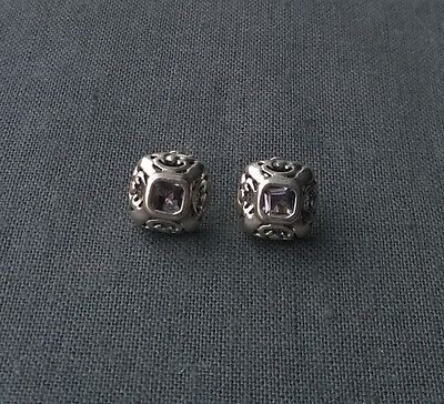 Genuine Superb Solid 925 Sterling Silver  Square Ornate Amethyst Stud Earrings