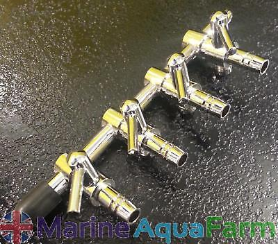 Aquarium 4 Way Chrome Air Line Splitter Taps Tank Manifold Regulator Fish
