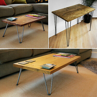 Hairpin Legs Coffee Table, Side Table, Desk, Solid Wood - Handmade in the UK ✅