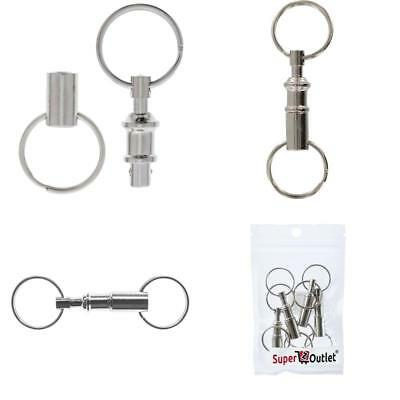 4 x Quick Release Key Chain Coupler Pull Apart Amflo Push Secure Car Home Ring