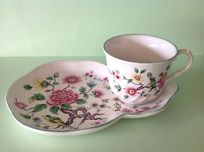 James Kent Old Foley 'Chinese Rose' Pattern Cup and Plate Tennis Set