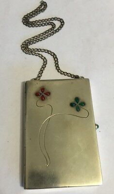 Antique German Louis Kuppenheim 900 Silver Card Case Chain with Inset Stones