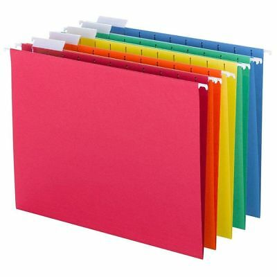 Hanging File Folders 1/5 Cut Tab Letter Size 25 Per Box Assorted Primary Colors