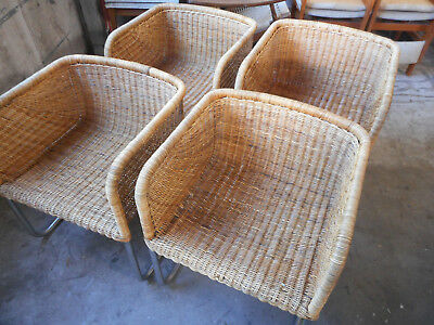 S/4 Mid Century Modern Cantilever Chairs Woven Rattan Chorme Base Harvey Probber