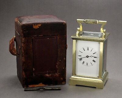 Antique brass oversized carriage clock fitted case key WORKS 8-day mantle piece
