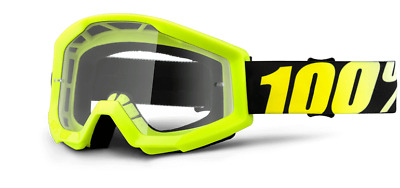 100% STRATA Goggles - NEON YELLOW - Offroad MX Motocross - Anti-Fog Clear Lens