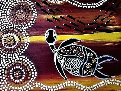 """Authentic Aboriginal Oil On Canvas Print """"budgial Turtle Man"""" Limited Edition"""