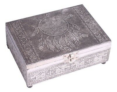 Embossed Silver Finish Wood Dreamcatcher Tarot Box Felt Lining