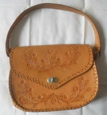 Vintage Retro Tooled Light Tan Leather Bag Trailing Flowers Exc Cond.