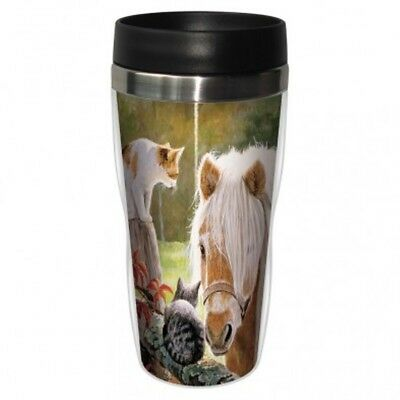 Tree Free Mug 47cl (16 ounce) Travel Tumbler Just Visiting Pony & Cats