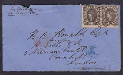 VICTORIA RARE 1864 6d BLACK PAIR QV TIED TO COVER MELBOURNE TO LONDON (DK43)