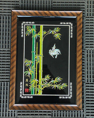 Vintage Reverse Glass Mother Of Pearl Inlay Framed Asian SIGNED Art Bamboo Birds